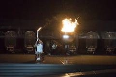 Paralympics Rio 2016. Rio de Janeiro, Brazil - september 07, 2016: opening ceremony of the Paralympics Rio 2016 at Maracana Stadium. Olympic flame stock photo