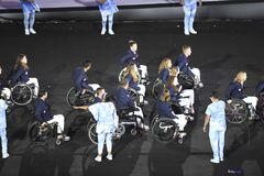 Paralympics Rio 2016. Rio de Janeiro, Brazil - september 07, 2016: opening ceremony of the Paralympics Rio 2016 at Maracana Stadium royalty free stock images