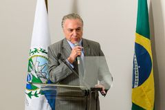 Michel Temer. Rio de Janeiro, Brazil - september 15, 2017:  President of Brazil Michel Temer during Inauguration at the radiosurgery center of the State Brain Royalty Free Stock Photos