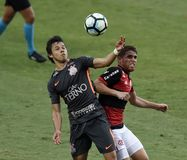 Soccer match between the clubs of Flamengo and Corinthias. Rio de Janeiro - Brazil, soccer match between the clubs of Flamengo and Corinthias. Current champion Royalty Free Stock Images