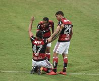 Soccer match between the clubs of Flamengo and Corinthias. Rio de Janeiro - Brazil, soccer match between the clubs of Flamengo and Corinthias. Current champion Stock Photo