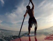 Stand up paddle training. Rio de Janeiro, Brazil,   stand up paddle training on Barra da tijuca beach Royalty Free Stock Photo
