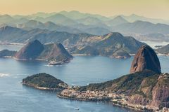 Rio de Janeiro, Brazil. Suggar Loaf and Botafogo beach viewed from Corcovado.  stock images