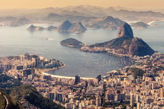 Rio de Janeiro, Brazil. Suggar Loaf and Botafogo beach viewed from Corcovado Royalty Free Stock Photos