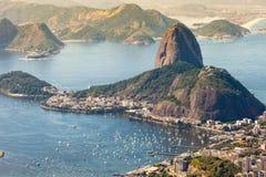 Rio de Janeiro, Brazil. Suggar Loaf and Botafogo beach viewed from Corcovado Stock Photo