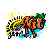 Rio de Janeiro Brazil summer 2016. Hand lettering ink drawn motivation poster. Artistic modern brush calligraphy design for a logo, greeting cards, invitations Stock Images