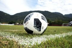 Telstar, soccer ball. Rio de Janeiro - Brazil,  Telstar, soccer ball to be used in the soccer world cup in Russia 2018 Royalty Free Stock Photo