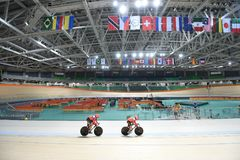 Track Cycling at the 2016 Olympics. Rio de Janeiro -Brazil, - Track Cycling at the 2016 Olympics in the park Royalty Free Stock Image