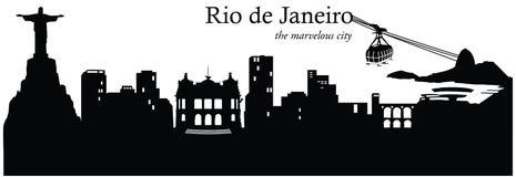 Rio de Janeiro, Brazil. Vector illustration of the cityscape skyline of Rio de Janeiro, Brazil, South America Royalty Free Stock Photos