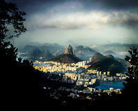 Rio de Janeiro Brazil view of the dramatic natural skyline from the surrounding jungle at the Vista Chinesa. Taken from Vista Chinesa, Rio de Janeiro, Brazil Royalty Free Stock Photo