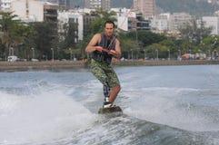 WAKEBOARD. Rio de Janeiro - Brazil, WAKEBOARD at the Rodrigue de Freitas lagoon in the southern zone of the city of Rio de Janeiro Royalty Free Stock Photo