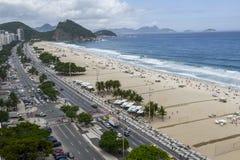 Rio De Janeiro Brazylia, Listopad, - 10, 2018: Widok buduje Copacabana plaża z góry zdjęcie stock