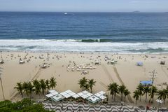 Rio De Janeiro Brazylia, Listopad, - 10, 2018: Widok buduje Copacabana plaża z góry fotografia stock