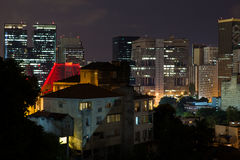 Rio de Janeiro buildings downtown at night. Brazil royalty free stock photo