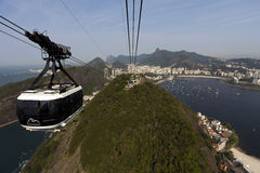 Rio de Janeiro - cable car. Rio de Janeiro / Brazil: Cable car leaves the station to drive to Sugarleaf Mountain stock photo