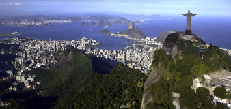 Rio De Janeiro - Christ the Redeemer - Brazil. Aerial view of Christ the Redeemer Statue at Corcovado above the city of Rio De Janeiro in Brazil. It is 30 meters stock photography