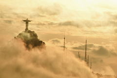 Rio de Janeiro Christ the Redeemer Statue in the Clouds Royalty Free Stock Images