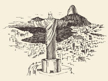 Rio de Janeiro City, Brazil Engraved Illustration. Rio de Janeiro city, Brazil vintage engraved illustration, Jesus Christ, hand drawn Stock Photography