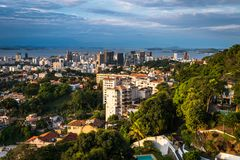 Rio de Janeiro City Downtown View by Sunset. Rio de Janeiro city downtown view from Santa Teresa by sunset stock images