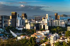 Rio de Janeiro City Downtown View by Sunset. Rio de Janeiro city downtown view from Santa Teresa by sunset royalty free stock images