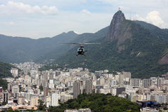 Rio de Janeiro City Scape. With helicopter in front of the camera Stock Photo
