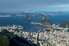 Rio de Janeiro. City scape and islands including sugar loaf mountain, taken from the famous Christ statue Stock Photos
