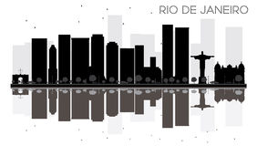 Rio de Janeiro City skyline black and white silhouette with refl Royalty Free Stock Images