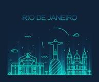 Rio de Janeiro City skyline Trendy line art style Royalty Free Stock Photos