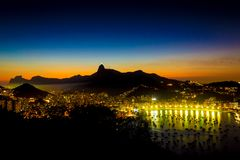 Rio de Janeiro City top view with Corcovado Christ the Reedeemer Pedra da Gavea and Enseada de Botafogo stock photos