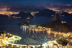 Rio de Janeiro City View at Night. Beautiful Night View of Rio de Janeiro City With Famous Landmark - the Sugarloaf Mountain Royalty Free Stock Image