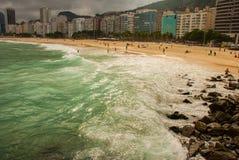 Rio de Janeiro, Copacabana, Lamastrand, Brasilien: Sch?ne Landschaft mit See- und Strandansichten Der ber?hmteste Strand in Rio-D stockfoto