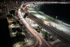 Rio de Janeiro Copacabana por noche Fotografía de archivo libre de regalías