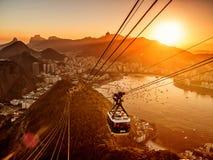 Rio de Janeiro de la puesta del sol de Sugar Loaf Foto de archivo libre de regalías