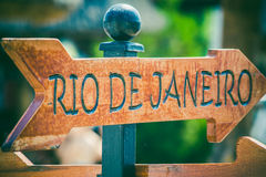 Rio de Janeiro direction sign. On the beach royalty free stock photos