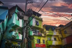 Rio de Janeiro downtown and favela royalty free stock photo