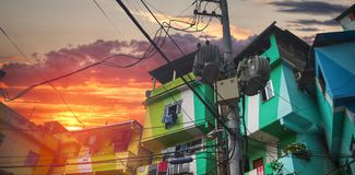 Rio de Janeiro downtown and favela royalty free stock image