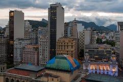 Rio de Janeiro Downtown at Night. Cityscape of Rio de Janeiro Downtown in the Evening and Mountains in the Horizon stock image