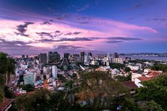 Sunset Over Rio de Janeiro Downtown. Rio de Janeiro downtown view during dramatic sunset with colorful sky royalty free stock photos