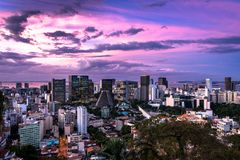 Sunset Over Rio de Janeiro Downtown. Rio de Janeiro downtown view during dramatic sunset with colorful sky royalty free stock image