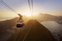 Rio de Janeiro en la puesta del sol Fotografía de archivo
