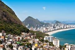 Rio de Janeiro Favela and Ipanema Beach View Royalty Free Stock Image