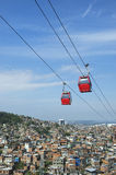 Rio de Janeiro Favela with Red Cable Cars Royalty Free Stock Photography