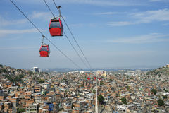Rio de Janeiro Favela with Red Cable Cars Stock Image