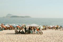 Ipanema's Beach, Rio de Janeiro, Brazil. RIO DE JANEIRO-FEB.07 ,2009: people enjoy the beach and sea at ipanema's beach, the preferred of cariocas, inhabitants royalty free stock photography