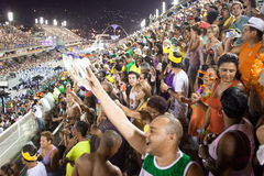 RIO DE JANEIRO - FEBRUARY 10: Spectators welcome participants on Royalty Free Stock Image