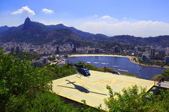 RIO DE JANEIRO - FEBRUARY 26: Helicopter lands on helipad of Sug Royalty Free Stock Images