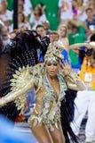 RIO DE JANEIRO - FEBRUARY 11: Samba dancer in costume singing an Stock Photography