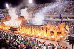 RIO DE JANEIRO - FEBRUARY 11: Show with decorations on carnival Stock Photos