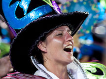 RIO DE JANEIRO - FEBRUARY 11: A woman  in costume singing and da Royalty Free Stock Photography
