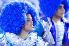RIO DE JANEIRO - FEBRUARY 11: A woman and man in costume singing Royalty Free Stock Image